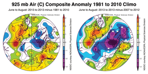 Summer temperatures for 2013 compared with data from 1981-2010 and 2007-2012.