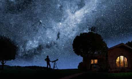 Man gazing at stars