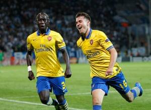 Arsenal celebrate:  Aaron Ramsey, Bacary Sagna