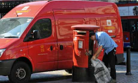 postbox with postman and van