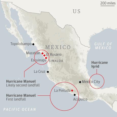 Map - Mexico hurricanes