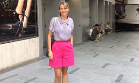Mending in vogue: Pink shorts