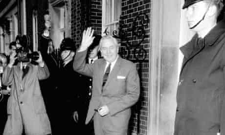 Harold Wilson at No 10 Downing Street after winning 1964 election