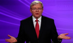Kevin Rudd during the first debate, pictured here at the end of a classic Rainbow.
