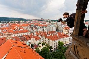 Skywalking: Vadim Gurnov skywalking above Prague, Czech Republic