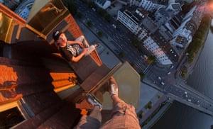 Skywalking: Vadim Gurnov skywalking above Frankfurt, Germany