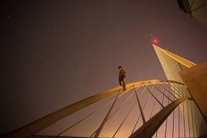 Skywalking: Vadim Makhorov skywalking above Benidorm