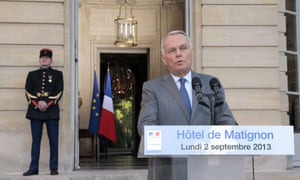 French Prime minister Jean-Marc Ayrault makes a statement following a meeting with MPs focusing on the situation in Syria.