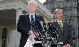 Senators John McCain and Lindsey Graham speaking after meeting with President Barack Obama at the White House.