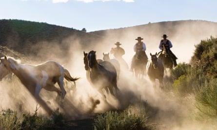 Cowboyrs riding in Oregon, USA