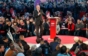 Social Democratic top candidate Peer Steinbrueck speaks during a pre-election rally in Berlin, Germany, Thursday, Sept. 19, 2013.