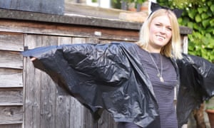 Fancy dress bat outfit made from bin liners