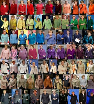 Angela Merkel, wearing jackets of differing colours while attending various public events. Merkel looks set to win a third four-year term in the election on Sunday.