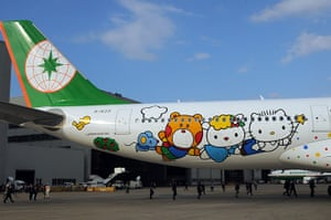 Hello Kitty plane: Hello Kitty characters on the aircraft