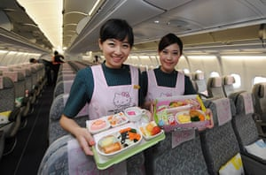 Hello Kitty plane: Flight attandants with the Hello Kitty meals