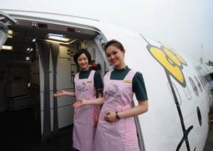 Hello Kitty plane: Flight attendants welcome you on board