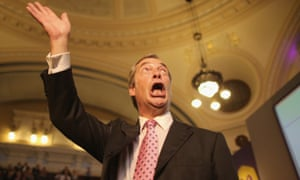 Leader of UKIP Nigel Farage takes the applause after addressing delegates during his keynote speech in London, England. Members of the United Kingdom Independent Party have gathered at Central Hall, Westminster for the annual conference. Nigel Farage has predicted that the party will come first in next year's European elections, saying it is 'growing up' after success in local elections.
