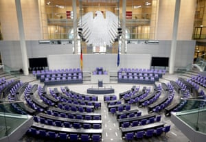 A view of the empty plenary room of the German parliament Bundestag is pictured in Berlin, Germany, 20 September 2013