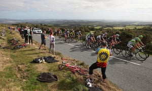 The peloton head towards the summit on Haytor during stage six of the Tour of Britain from Sidmouth to Haytor.