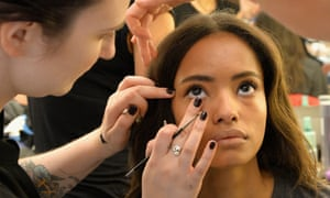 A model being made-up backstage before the Iceberg show - part of Milan Fashion Week Spring Summer Collections.