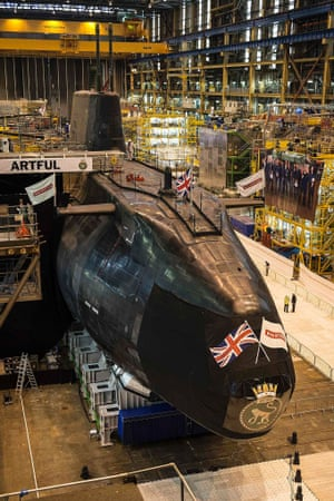 Britain's latest Astute class submarine named 'Artful' before its unveiling ceremony in Barrow-in-Furness.