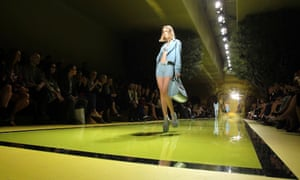 A model presents a creation from the Versace Spring/Summer 2014 collection at Milan Fashion Week.