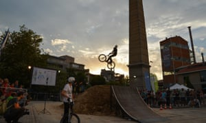 A biker performs during the 4th Bike Festival in Athens, a city with a growing bike culture