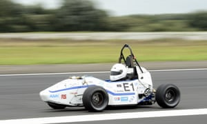 Netherland's Marly Kuijpers steers his electric car in Leiden, beating the acceleration world record with 2.15 seconds to go from 0 to 100 km/h