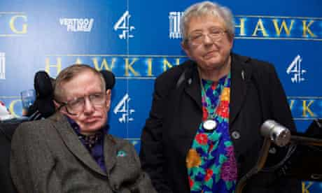 Stephen Hawking with his sister Mary at the premiere of the film Hawking in Cambridge