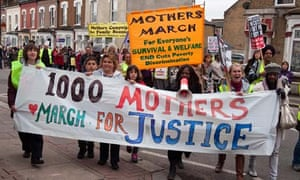 Women demonstrate against welfare cuts in Tottenham, London, in April this year.