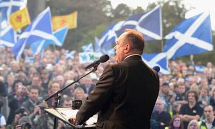 Alex Salmond addresses a pro-independence rally on Calton Hill, Edinburgh
