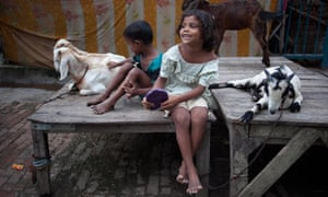 Indian children displaced due to the flooding of the River Ganges