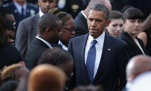 Barack Obama at the memorial for the Washington navy yard shooting victims.