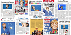 European front pages after Angela Merkel wins German election