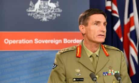 Lieutenant General Angus Campbell, commander of the federal government's Operation Sovereign Borders policy, speaks at a press conference in Sydney on September 23, 2013.