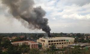 Heavy smoke rises from the Westgate Mall in Nairobi, Kenya