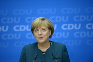 German Chancellor and candidate for the Christian Democratic Union (CDU) Angela Merkel reacts as she speaks during a press conference in Berlin, Germany on September 23, 2013 a day after the German general elections. Photograph: JOHANNES EISELE/AFP/Getty Images
