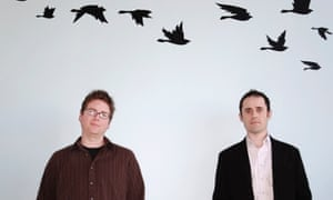 Twitter founders Biz Stone, right, and Evan Williams at their office in San Francisco.