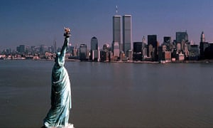 The Statue of Liberty, with the twin towers in the background: their destruction happens halfway thr