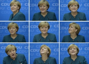 Combo of nine pictures shows German Chancellor and candidate for the Christian Democratic Union (CDU) Angela Merkel giving a press conference in Berlin on September 23, 2013 a day after the German general elections. Merkel clinched a third term in German elections.