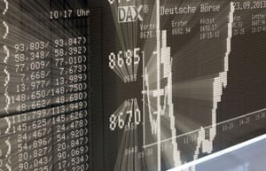A board displays the German stock market index DAX at the stock exchange in Frankfurt am Main, western Germany, on September 23, 2013, a day after the German general elections.