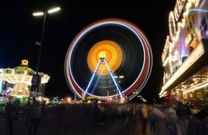 oktoberfest: A long exposure shot of the giant ferris wheel
