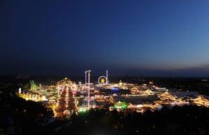 oktoberfest: A general night aerial view of Oktoberfest 2013