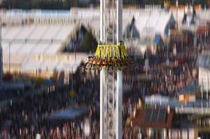 Oktoberfest: Visitors enjoy a fairground ride