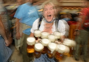 oktoberfest: A waitress in a traditional Bavarian dress