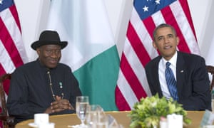 NEW YORK, NY - SEPTEMBER 23: (AFP OUT) U.S. President Barack Obama (R) meets with Nigerian President Goodluck Jonathan on September 23, 2013 in New York City.