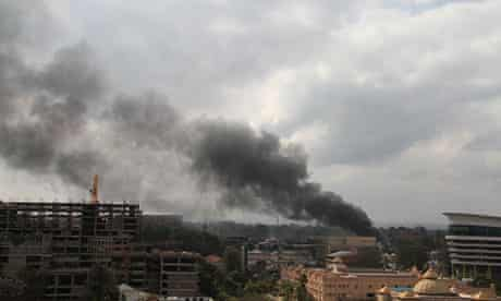 Smoke rises from the Westgate mall on Monday.