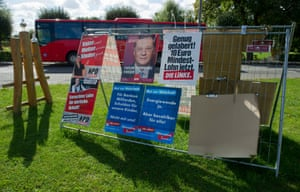 Election campaign posters of several parties, amongst them the NPD, hang on a construction site fence at Europe Square in Usedom city on Usedom, Germany, 23 September 2013.