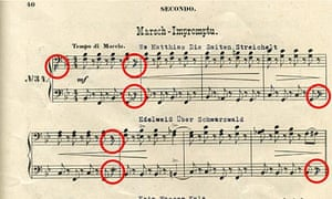 Musical score with code to Nazi Gold