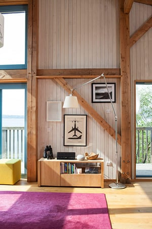 Homes - On The Rocks: living area with wooden beams